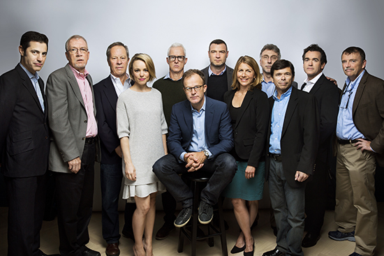 "TORONTO, CANADA - SEPTEMBER 25: The cast of the film, ""Spotlight,"" including Boston Globe journalists and their acting counterparts, from left; screenwriter Josh Singer, Walter Robinson, Ben Bradlee Jr., Rachel McAdams, John Slattery, director Tom McCarthy, Live Schreiber, Sacha Pheiffer, Marty Baron, Michael Rezendes, Brian dArcy James and Matt Carroll are photographed for Los Angeles Times on September 25, 2015 in Toronto, Ontario. PUBLISHED IMAGE. CREDIT MUST READ: Jay L. Clendenin/Los Angeles Times/Contour by Getty Images. (Photo by Jay L. Clendenin/Contour by Getty Images)"